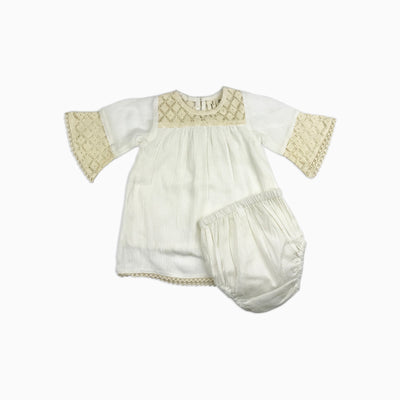 Baby Girl Clothes: full shot of white dress with cream lace