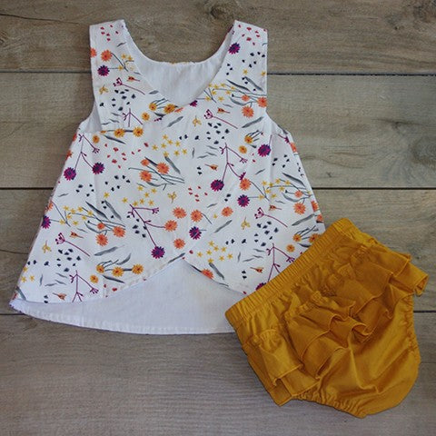 Backside of Flower Dress with Mustard Bloomers: Baby Girl Clothes