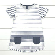 Blue Striped Dress with Pockets: Baby Girl Clothes