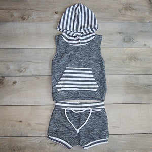 Boys Cutoff Grey Matching Sweat Suit: Baby Girl Clothes
