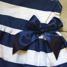 Close up on bow on Blue and white dress: Baby Girl Clothes