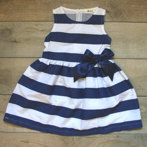 Blue and White striped dress with bow: Baby Girl Clothes