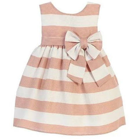 Pink Striped Dress with Bow White Background: Baby Girl Clothes
