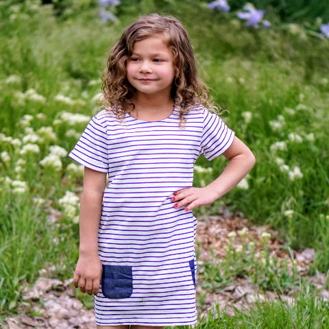 Girl wearing blue striped dress: Baby Girl Clothes