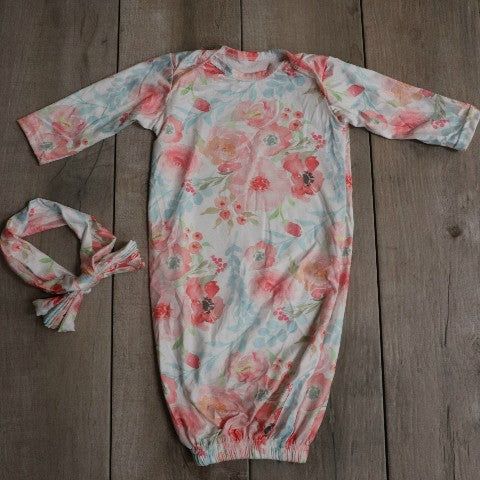 Full View of Flower Layette Gown: Baby Girl Clothes