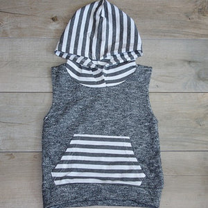 Close up on Cutoff Sweat Shirt- Baby Girl Clothes