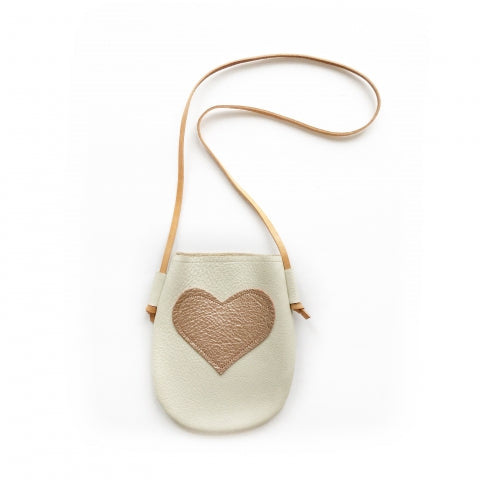 White Leather Purse with Heart: Baby Stores