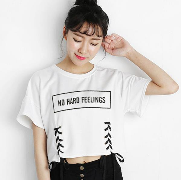 b5e9cfe7c1b No Hard Feelings Loose Fit Laced Up Crop Top