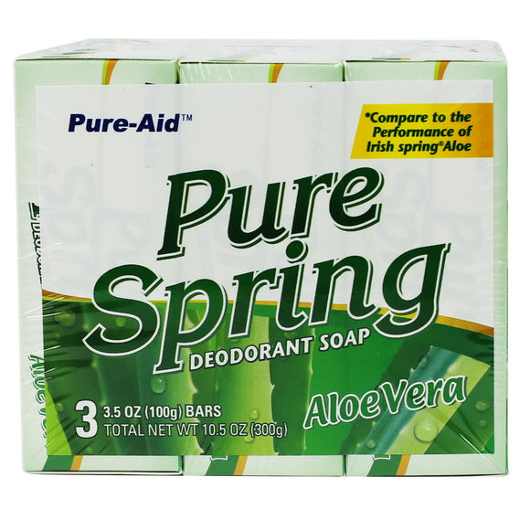 Pure-Aid Pure Spring Aloe Vera Soap, 3 Bars