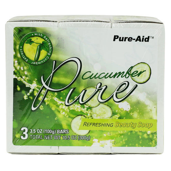 Pure-Aid Pure Cucumber Soap,- 3 Bars