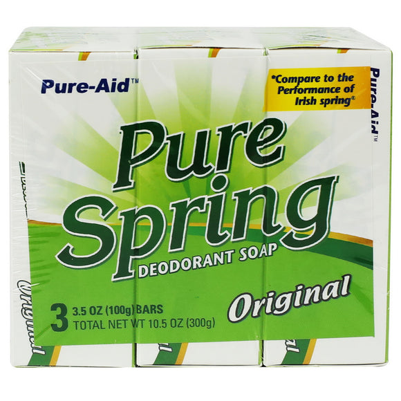 Pure-Aid Pure Spring Original Bar Soap, 3 Bars
