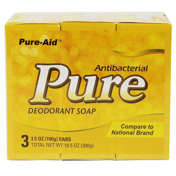 Pure-Aid Pure Antibacterial Deodorant Bar Soap, 3 Bars