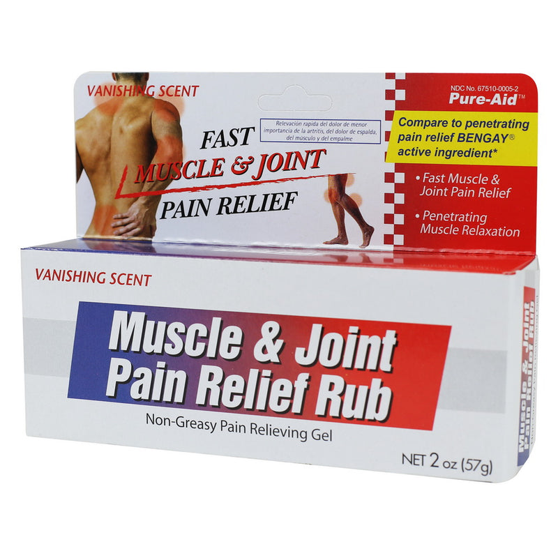 Pure-Aid Muscle & Joint Pain Relief Rub, 2oz (Compare to Bengay)
