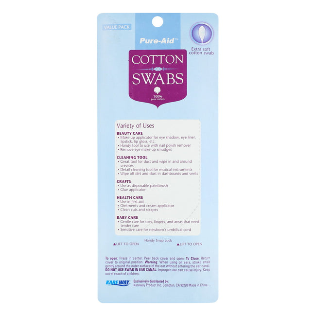 Pure-Aid 100% Cotton Swabs, 500ct