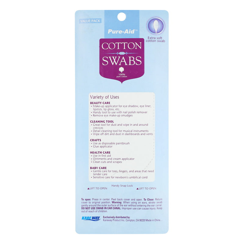Pure-Aid 100% Cotton Swabs, 500ct (Compare to Q-Tips)