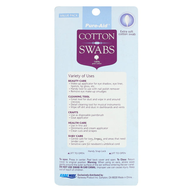 Pure-Aid 100% Cotton Swabs, 400ct