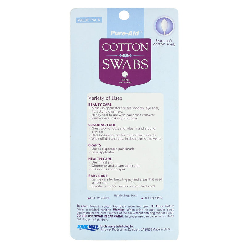 Pure-Aid 100% Cotton Swabs, 400ct (Compare to Q-Tips)