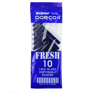 Dorco TD708 Super Twin Blade Disposable Razors, 10ct