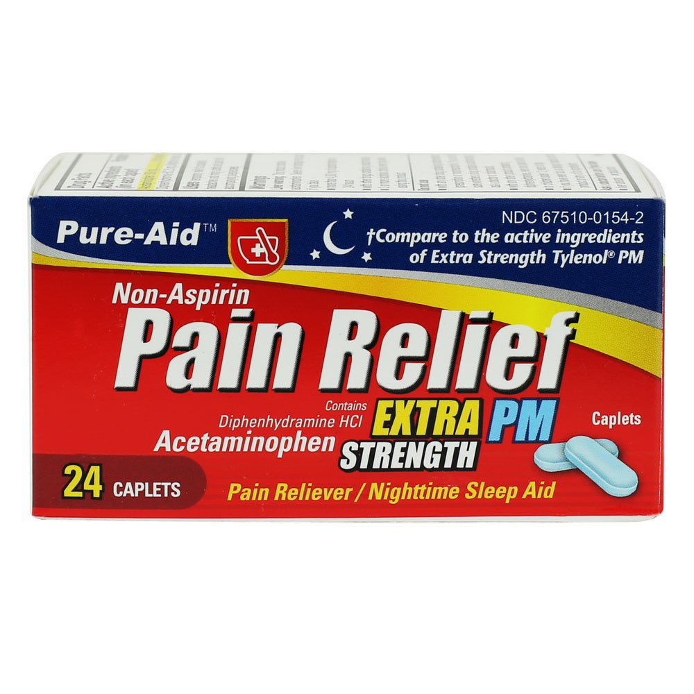 Pure-Aid Non Aspirin Pain Relief Extra Strength PM Caplets, 24ct (Compare to Tylenol)