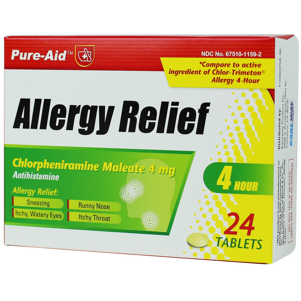 Pure-Aid Allergy Relief Tablet, 24ct (Compare to Chlor-Trimeton)
