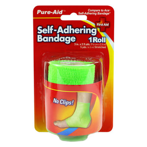 Pure-Aid Self-Adhering Bandage 3in x 2.5yds, 1Roll (Compare to Band-aid)