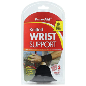 Pure-Aid Knitted Wrist Support (SM-MED)-2pc, 1ct