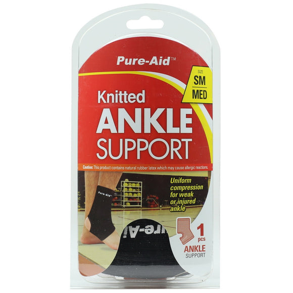 Pure-Aid Knitted Ankle Support (Size S-M), 1ct