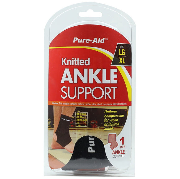 Pure-Aid Knitted Ankle Support (LG-XL), 1ct  (Compare to ACE)