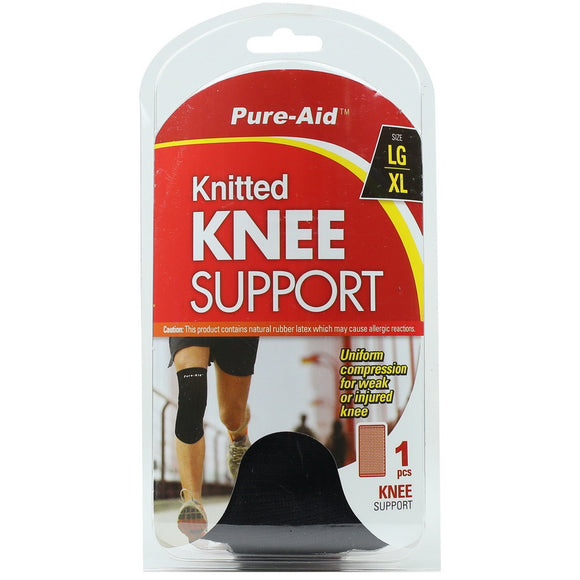 Pure-Aid Knitted Knee Support (LG-XL), 1ct  (Compare to ACE)