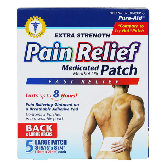 Pure-Aid Cold & Hot Pain Relief Patch, 5ct (Compare to Icy Hot Patch)