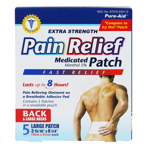 Pure-Aid Lidocaine Menthol Patch (Compare to Icy Hot Patch)