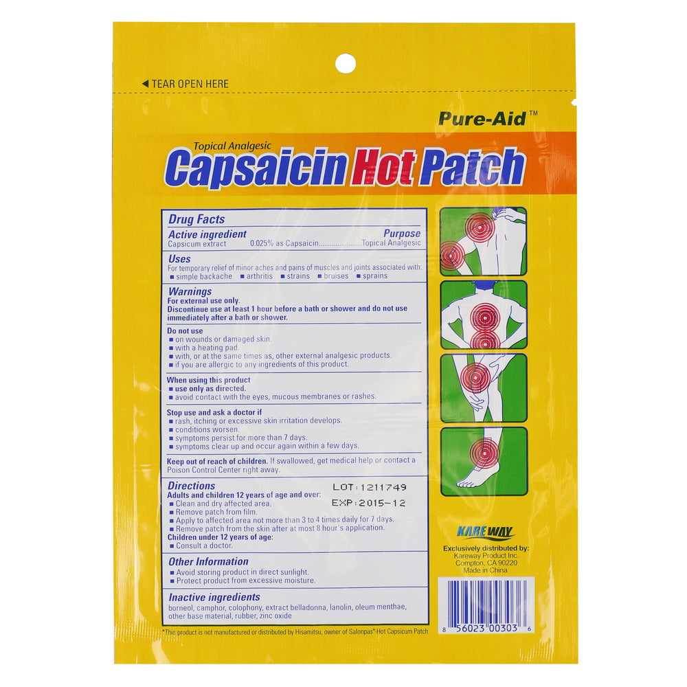 Pure-Aid Capsaicin Hot Patch,  1ct (Compare to Salonpas Hot Capsicum Patch)