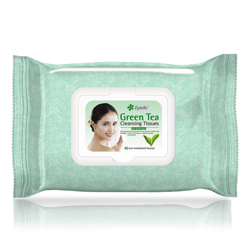epielle®Green Tea Facial Cleansing Tissues, 60ct