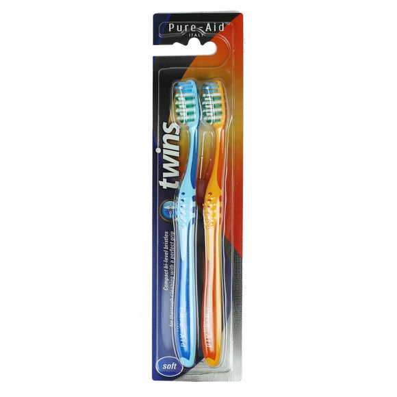 Pure-Aid Twins Italy Toothbrush-Soft, 2pk
