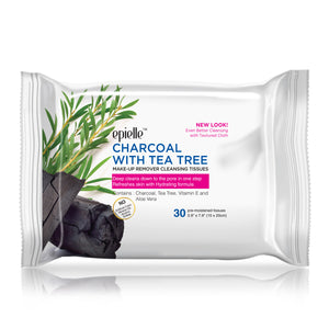 epielle®Charcoal w/ Tea Tree Make-Up Remover Cleansing Tissues, 30ct