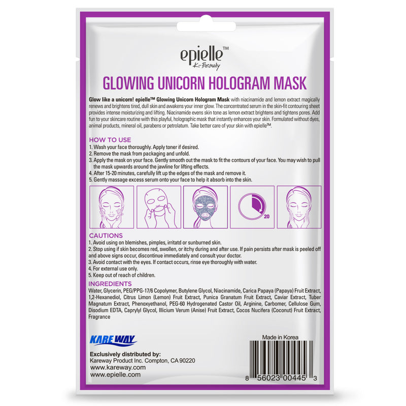 epielle®Glowing Unicorn Hologram Mask, 1ct