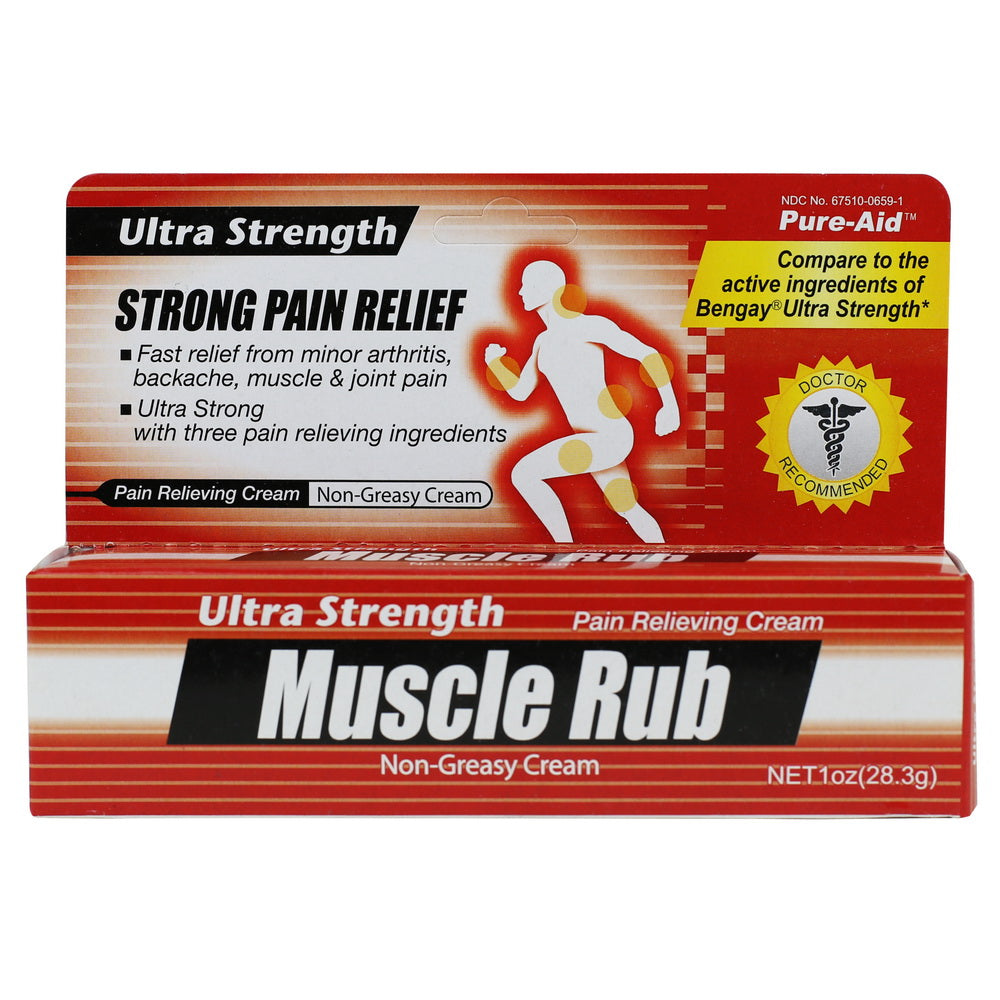 Pure-Aid Ultra Strength Muscle Rub Cream, 1oz (Compare to Bengay)