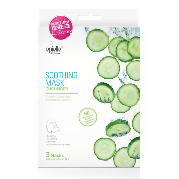 epielleⓇ Cucumber Soothing Facial Mask, 3ct