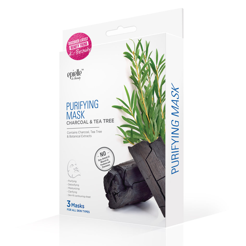 epielle®Charcoal & Tea Tree Purifying Mask, 3ct