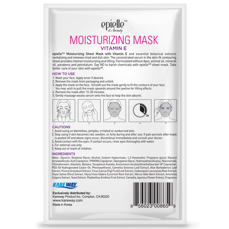 epielle®Vitamin E Moisturizing Facial Mask, 3ct