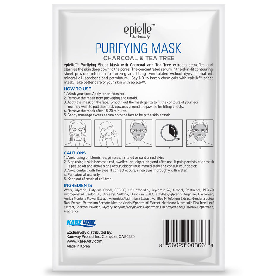 epielle®Charcoal & Tea Tree Purifying Mask, 1ct