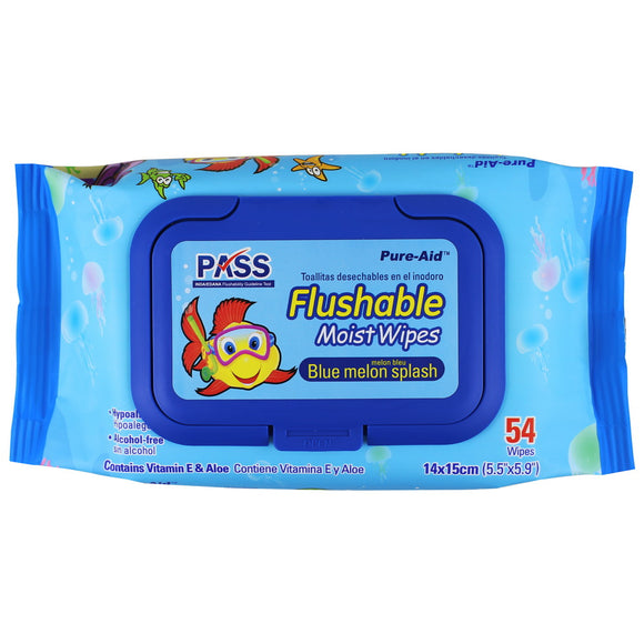 Pure-Aid Flushable Baby Wipes-Blue Melon Splash-Blue, 54ct