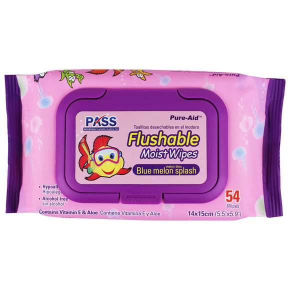 Pure-Aid Flushable Baby Wipes-Blue Melon Splash-Pink, 54ct