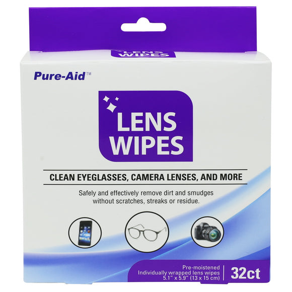 Pure-Aid Lens Wipes, 32ct