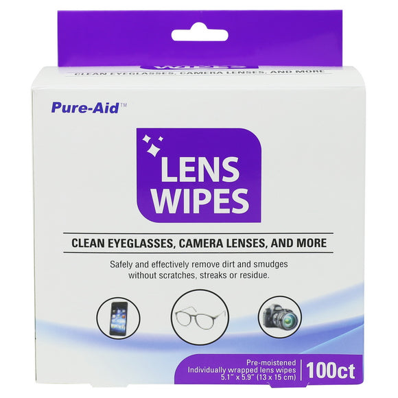 Pure-Aid Lens Wipes, 100ct