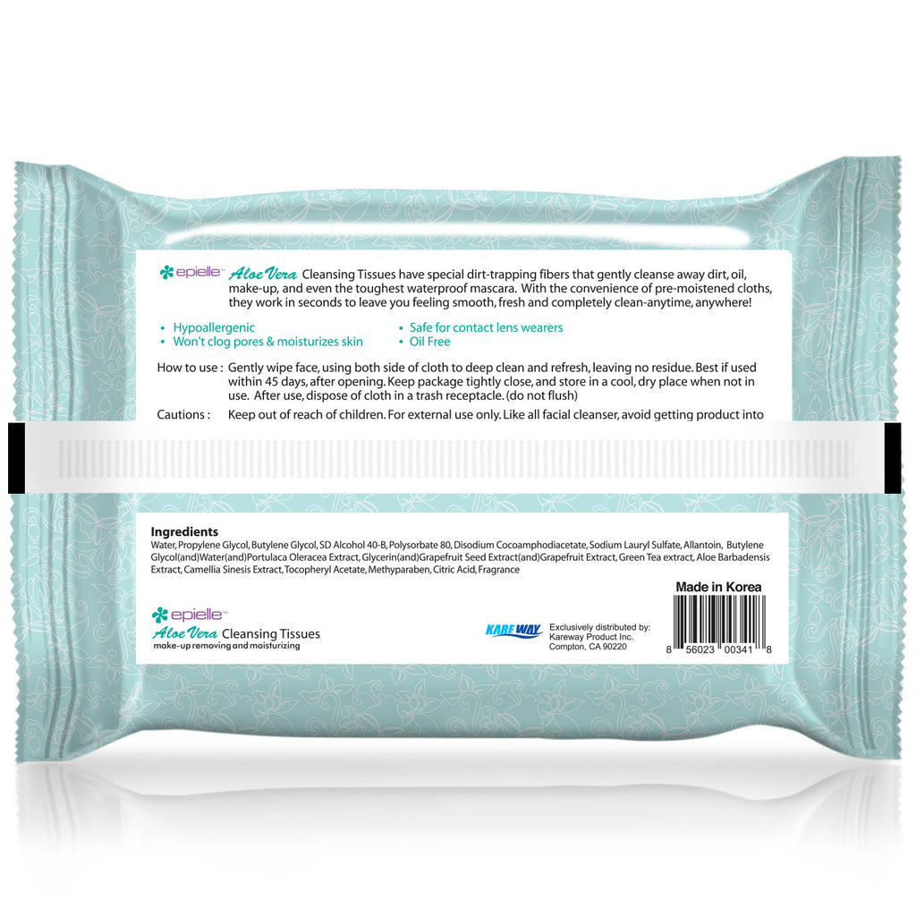 epielle®Aloe Vera Facial Cleansing Tissues, 30ct
