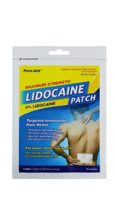 Pure-Aid Lidocaine Patch (Compared to Icy Hot Patch)