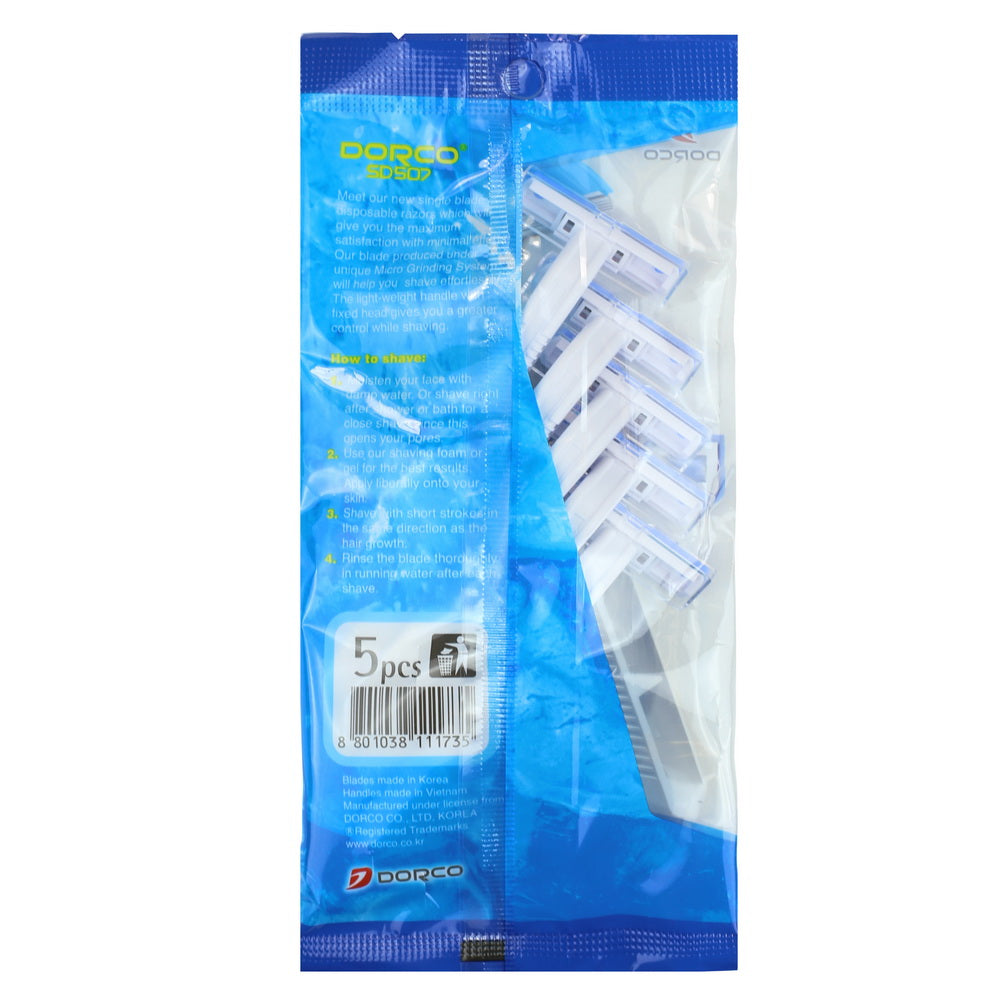Dorco Single Blade Disposable Razor, 5pk