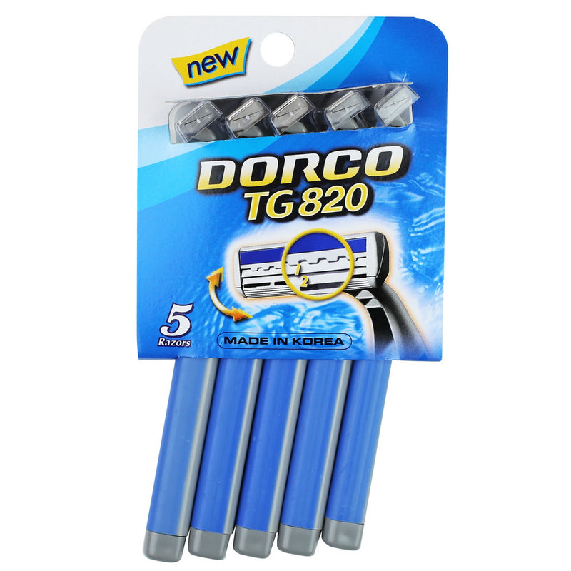 Dorco TG820 Comfort Long Grip Twin Blade Disposable Razor-Blue, 5pk