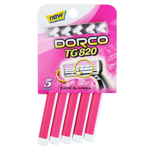 Dorco TG820 Comfort Long Grip Twin Blade Disposable Razor-Pink, 5pk
